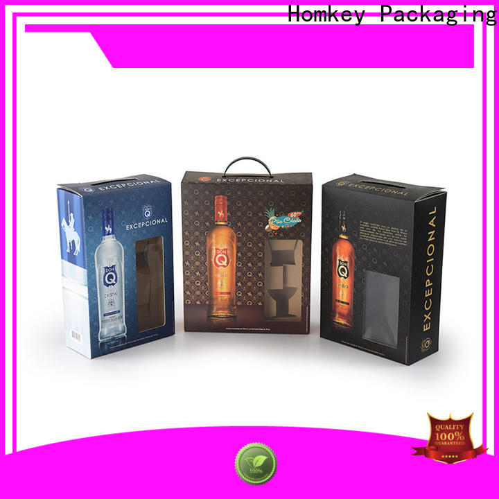 Homkey Packaging hinged wine bottle packaging in different shape for gift packing
